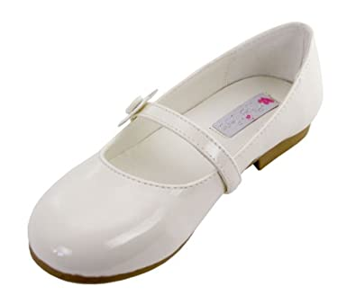 Darling Party Shoe with Daisy for Girls (Childrens 10, Ivory)