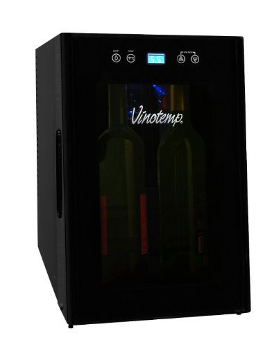 Vinotemp VT-8TEDTS-ID 8-Bottle Thermoelectric Wine Cooler, Black