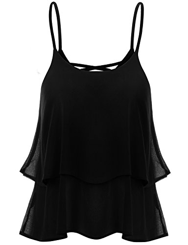 TWINTH Sleeveless Strap Shirring Chiffon Cropped Tank Top Cami Blouse Black XL (Spaghetti Strap Blouse compare prices)
