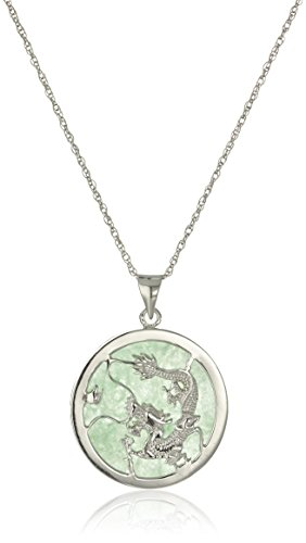 Sterling Silver Green Jade Small Dragon Pendant