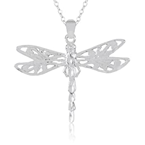 Sterling Silver Filigree Dragonfly Pendant Necklace , 18""