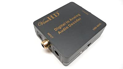 ViewHD Digital Suround Sound to Analog Stereo Audio Decoder (SPDIF / Coaxial 5.1CH Input to RCA L/R & 3.5mm Outputs)   VHD-ADAC