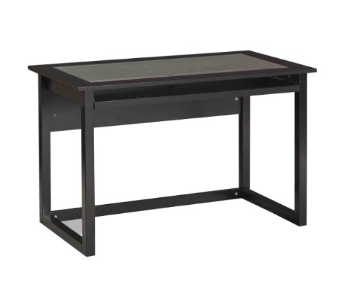 Buy Low Price Comfortable OSP Designs Meridian Computer Desk In Black with Glass Desk Top (B00292BQXC)