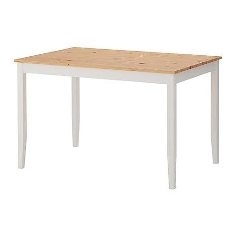 IKEA LERHAMN - Table, tache antique lumière, tache blanche - 118x74 cm