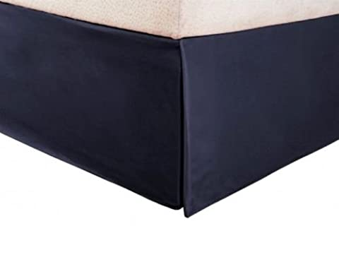 Qutain Linen Tailored Bed Skirt Solid Dust Ruffle All Sizes 13 Colors (Full, Navy Blue)