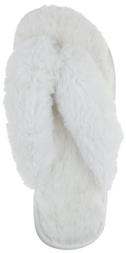Image of Capelli New York Faux Fur Thong With Satin Toe Post Ladies Indoor Slipper Ivory Combo Large (B005EMUA36)