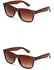 YOUNKY COMBO OF BROWN WAYFARER SUNGLASSES AND YOUNKY BROWN WAYFARER SUNGLASSES PAIR - WITH 2 BOXES