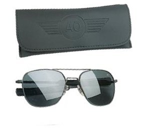 American Optical Original Pilot Bayonet 57mm Black TC Grey Sunglasses