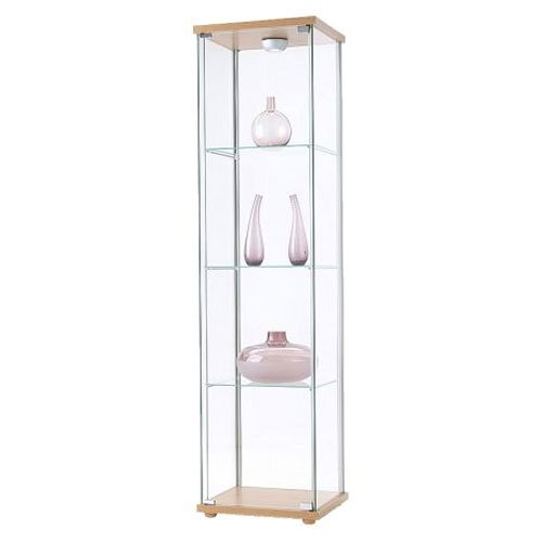 cheap ikea detolf glass curio display cabinet light brown sale