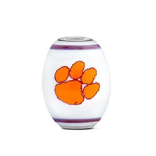Clemson Tigers Large Glass Bead Fits Most European Style Bracelets