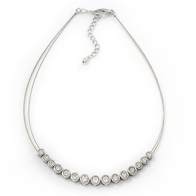 Silver Plated Diamante Wire Choker Necklace - 36cm Length/ 6cm Extension