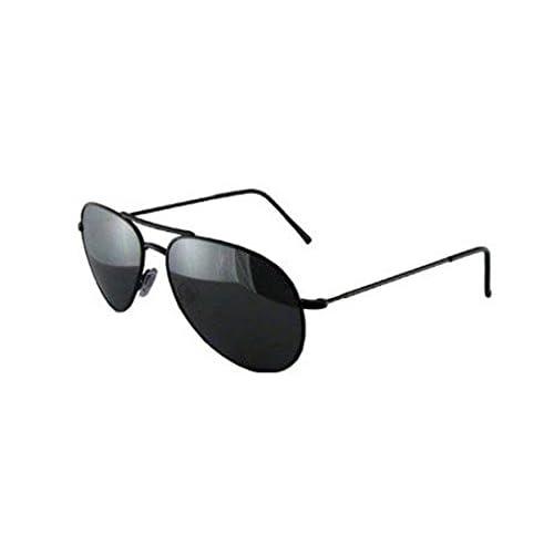Black Metal Aviator Sunglasses, Black Lenses, With Drawstring Pouch, Mens, Womens, Unisex Full UV 400