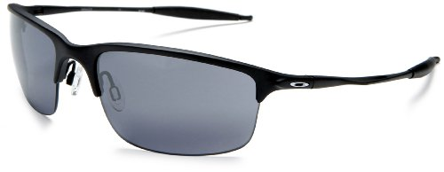 Oakley Men's Half Wire 2.0 Iridium Sunglasses,Matte Black Frame/Black Lens,one size