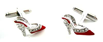 Red & Silver Crystal Heel Cufflinks