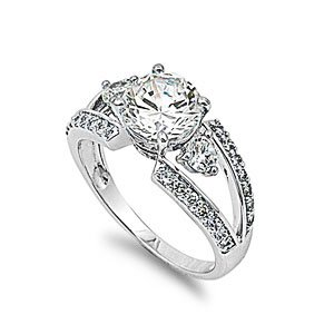 Sterling Silver Halo Wedding Ring with Round Clear CZ Stones - Size 5