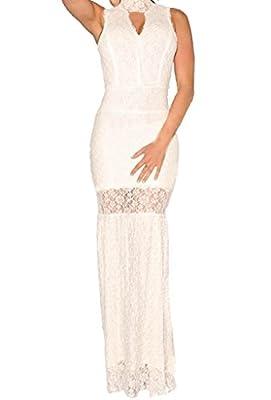 Zkess Women's High Neck Lace Prom Ball Evening Gowns Maxi Dress