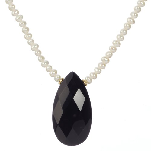 Gold Plated Silver White Freshwater Cultured Pearl with Black Onyx Faceted Pendant Necklace, 18