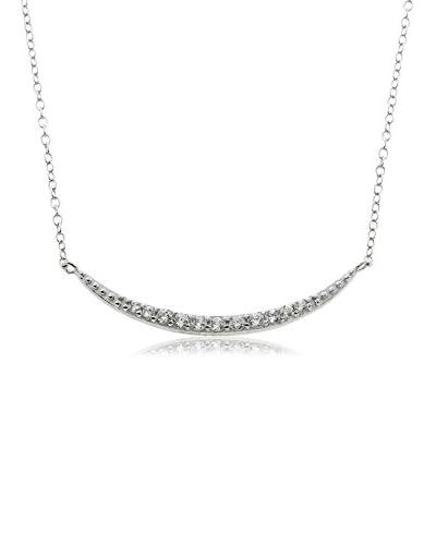 Diamonere Pavé Crescent Moon Necklace, Silver