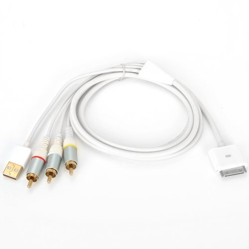 AV composite video to tv-rca cable USB for Apple iPad 1 iPad 2 iPhone iPod