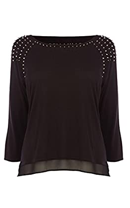 STUD-SHOULDER JERSEY TOP