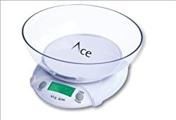 ACE Kitchen Weighing Scale1g to7000 gm Display Units in Gm, OZ, LB, Measure Bowl