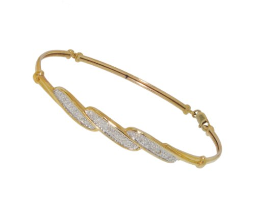 9ct Yellow Gold 0.23ct Diamond Pave Set Bangle