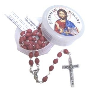 Jerusalem Rose Petals Rosary with Rosary box and a certificate in two languages
