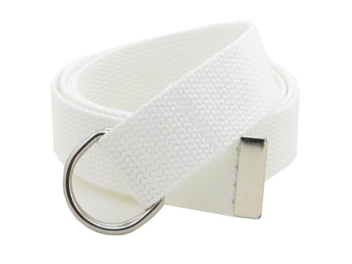"""Thin Web Belt Double D-Ring Buckle 1.25"""" Wide with Metal Tip Solid Color (M-White)"""