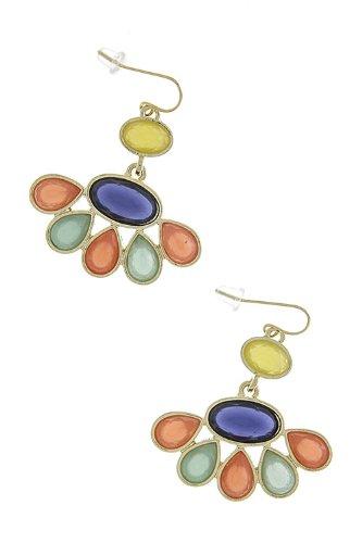 The Jewel Rack Acrylic Jewel Dangle Earrings (Navy/Multi)