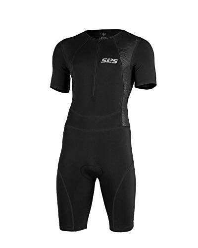 SLS3 Mens Triathlon Tri Race Suit Short Sleeve 1 Pocket Skinsuit Trisuit - great from Sprint to Ironman (Black, Large)