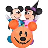 HALLOWEEN AIRBLOWN INFLATABLE 6' MICKEY AND MINNIE VAMPIRE SCENE W/ MICKEY PUMPKIN