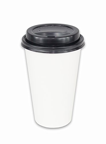 2dayShip 100 Pack WHITE Paper Coffee Hot Cups with BLACK Travel Lids - 16 ounce (16oz Coffee Cups 100 compare prices)