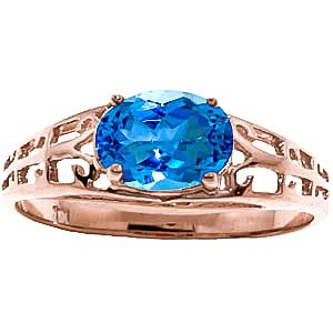 QP Jewellers Natural Blue Topaz Ring in 9ct Rose Gold, 1.15ct Oval Cut - 2388R