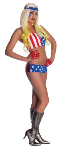 Lady Gaga American Flag Outfit,Red/White/Blue,Standard Costume