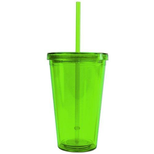 Bpa-Free 16 Ounces Acrylic Tumbler With Straw, Double Wall, Lime Green