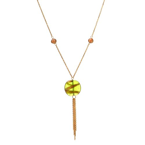 Sterling Silver Italian Yellow Gold Plated Lariat with Murano Glass Beads Necklace, 17.5