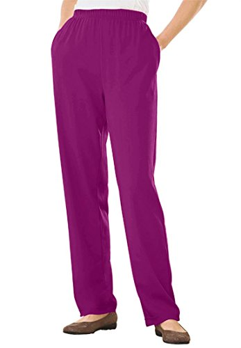 Women's Plus Size Straight Leg 7-Day Knit Pants Berry Pink,1