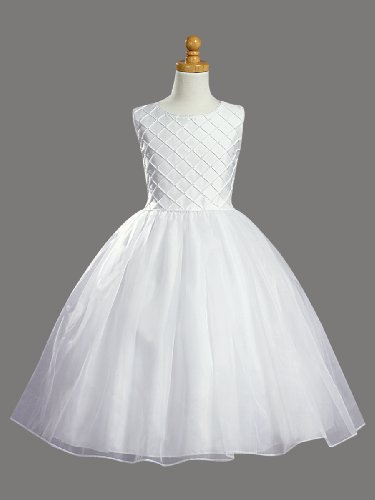White Shantung Communion Dress With Tucked Bodice And Pearl Accents - Size 10