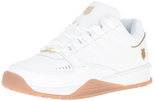 K-Swiss Men's Baxter Fashion Sneaker, White/Gold/Gum, 12 M US