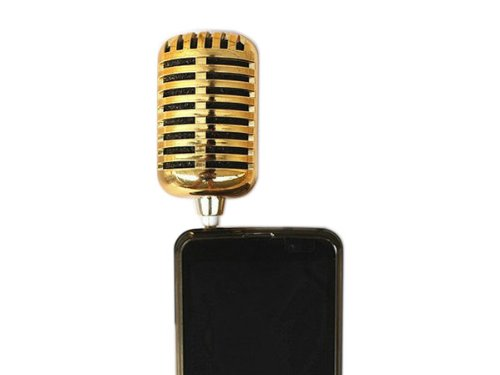 Gosear Cool Mini Portable Microphone Shape Fashion Speaker For Iphone 4 4S 5 Golden