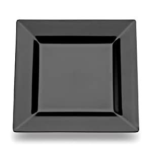 plates 6 5 inch black case of 12 sets of 10 black square plastic