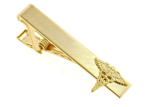 Elegant caduceus doctor symbol tie clip. Made in the USA