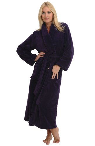 Del Rossa Fleece Full Length Shawl Collar Bathrobe, Purple