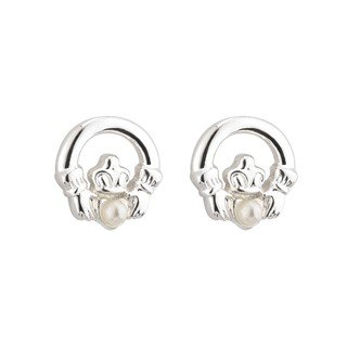 Communion Claddagh and Pearl Stud Earrings-Made in Ireland