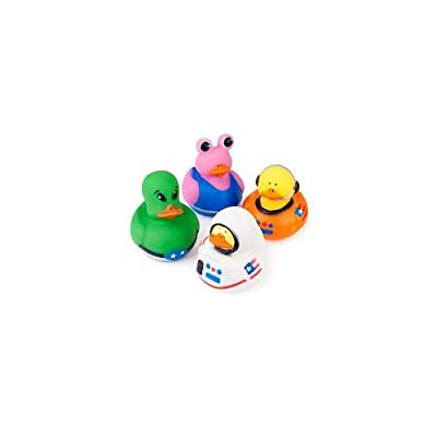 """Receive 12 ducks total, 4 different styles. Each ducky measures approx. 2"""" x 2"""". They do not squeak but do have a hole in their beak for squirting water. They do not float upright. Great to hand out to your guests as party favors. Ages 3+."""