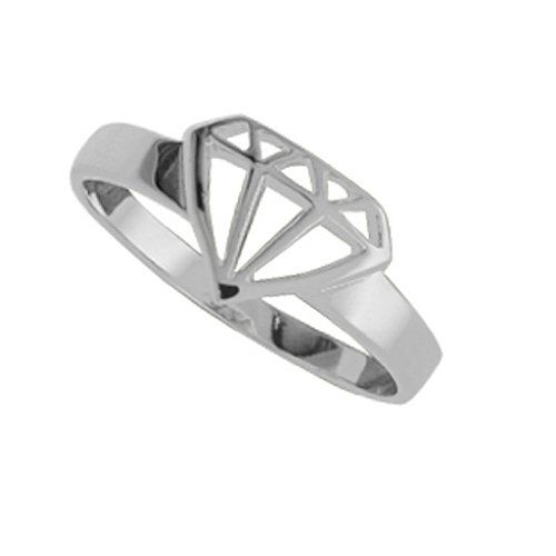 Boma Sterling Silver Diamond Cut Out Ring (size: 5)