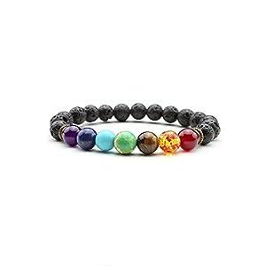Handmade Link Stretch Lava Rock Beads Bracelet with Semi-preciouse Gemstones (Black Lava Stone)
