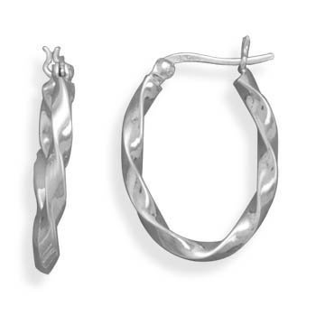 Oval Hoop Earrings Sterling Silver Twist Click Close