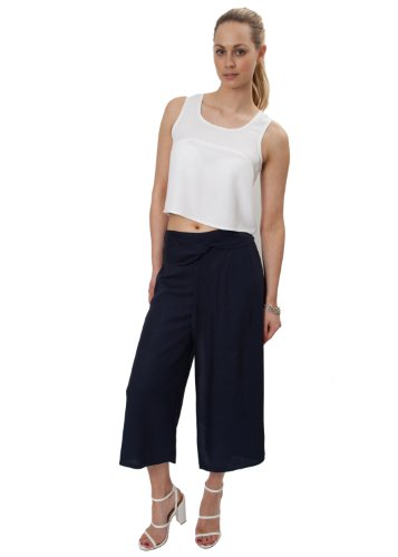 Wide Leg Crop Culottes Navy L