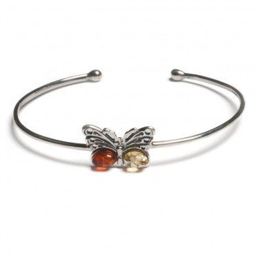 Classic Baltic Amber, Silver And Cognac And Yellow Amber Butterfly Bangle